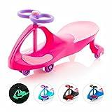 Eightbit Swivel Car Rolling Ride-On-Car, Indoor/Outdoor, Pink Lightning Pink/Purple