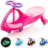 EIGHTBIT Swivel Car Rolling Ride On Car - Indoor / Outdoor - Pink Lightning Pink/Purple