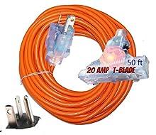 20 amp t blade Extension Cord 10/3 Triple Outlet NEMA 5-20 amp extension cord 125 Volts 2500 Watts T-Blade Plug All Copper Wire 10 gauge Extension Cords 50 ft (20 amp extension cords 50 ft)