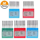 #1: 50 Pieces Sewing Machine Needles Assorted Round Head Needle for Home Regular Point Sewing, 5 Sizes (75/11, 80/12, 90/14, 100/16, 110/18)