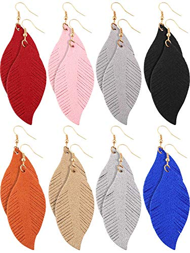 Jovitec 8 Pairs Leather Earrings Set Lightweight