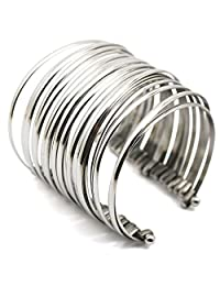 COUYA Stainless Steel Exaggerated Wide Open Cuff Bangle Bracelet for Women