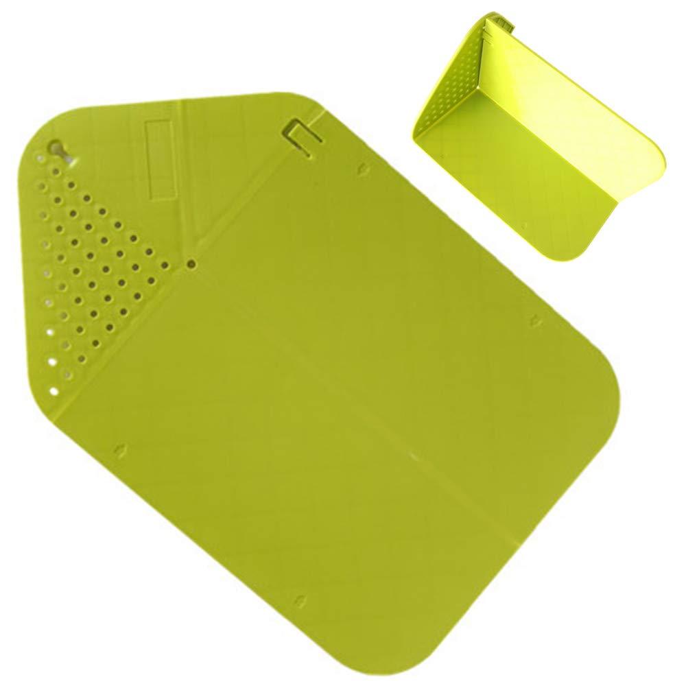 LivePro キッチンツール & ガジェット プラスチック折りたたみ式まな板 ストレーナー付き デュアル用途 水切りまな板 フルーツ野菜洗濯バスケット BPAフリー グリーン B07H7LVDM7  グリーン
