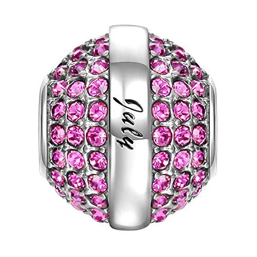 "SOUFEEL ""Happy Birthday 12 Months Birthstone Charm Swarovski 925 Sterling Silver Charms for Bracelets"