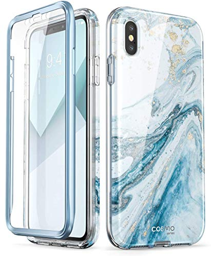 - i-Blason Cosmo Full-Body Bling Glitter Sparkle Clear Bumper Case Built-in Screen Protector for iPhone Xs Max 2018 Release, Blue, 6.5