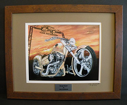 Original Signed Painting - Ltd Edition Custom Framed Motorcycle Art Print, Sturgis Motorcycle Rally, Buffalo Chip Sign, Signed Numbered Biker Art w/Certificate - Original Painting by John Guillemette