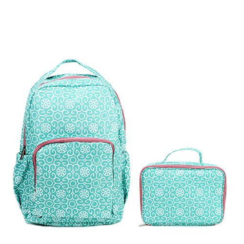 Medallion Travel Bag (Mint Green Damask Medallion Reinforced and Water Resistant Backpack and Lunch Bag Tote 2 Piece Set)