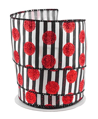 Glitter Dot Satin - Glitter Polka Dots with Black & White Stripes Satin Wired Ribbon #40 - 2.5