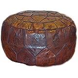 Egyptian Morrocan Handmade Genuine Leather Ottoman Pouf Xl (Dark Brown)