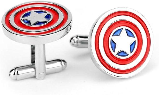 Sarissa Gemelos Hombre, Camisa Francesa, Capitán América, Gemelos de Regalo, 2 Piezas, para Hombres, Día del Padre, Amantes, Amigos, Bodas, Aniversarios, Cumpleaños: Amazon.es: Joyería