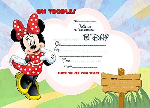 8 Tarjetas De Invitación Para Fiestas De Cumpleaños De Minie