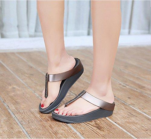 de Verano de Sandalias Desgaste Libre Playa Resistente de Aire NVXIE Calzado Mujer Helado al Antideslizante Grey Temporada Zapatos Calzado Chancletas Rhinestone Pendiente pFwnBzx