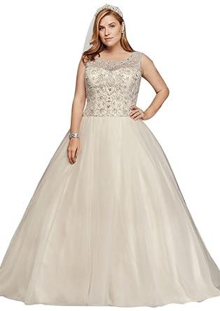David\'s Bridal Oleg Cassini Plus Size Beaded Wedding Ball Gown Style ...