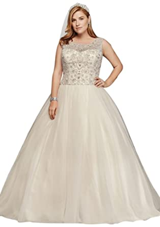 Davids Bridal Oleg Cassini Plus Size Beaded Wedding Ball Gown Style
