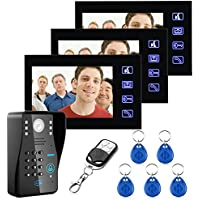 MOUNTAINONE 7 RFID Password Video Door Phone Intercom Doorbell 3 Monitors With HD IR Camera 1000 TV Line Remote Access Control System