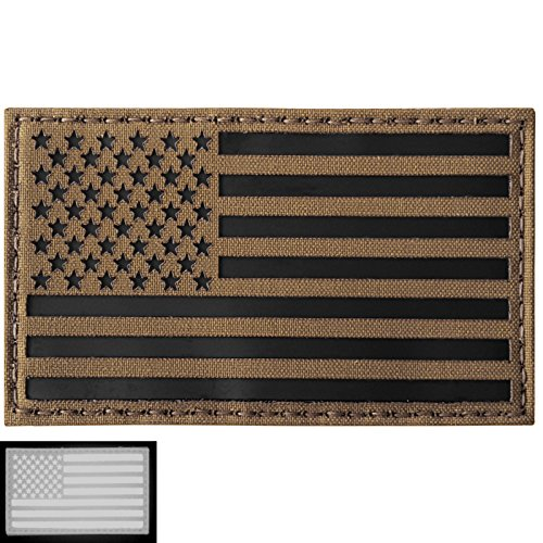 Big 3x5 Coyote Brown Tan Infrared IR USA American Flag Laser Cut Reflective IFF Tactical Morale Touch Fastener - Usa Ir