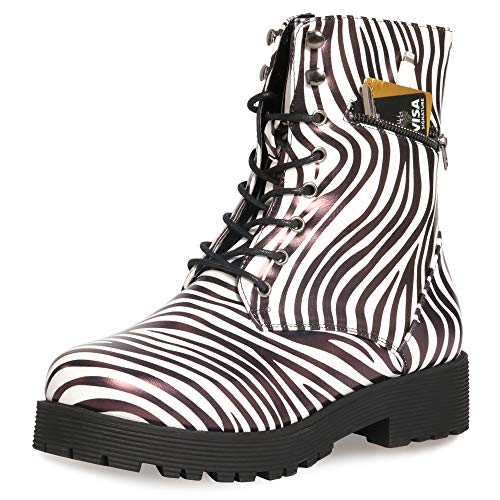 CINAK Military Combat Boots for Women- Winter Autumn Comfort Outdoor Waterproof Martin Booties Mid-Calf Shoes (5.5-6 B(M) US/ CN37 / 9.2'', Zebra-Stripe)