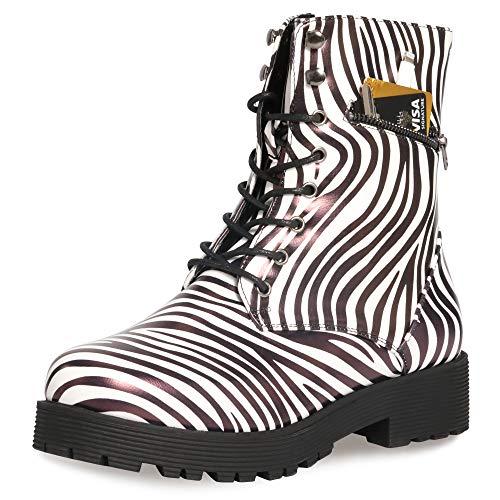 (CINAK Military Combat Boots for Women- Winter Autumn Comfort Outdoor Waterproof Martin Booties Mid-Calf Shoes (5.5-6B(M)US/CN37/9.2'', Zebra-Stripe))