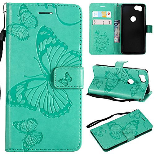 Price comparison product image ARSUE Google Pixel 2 Case, Google Pixel 2 Wallet Case, Leather Folio Flip PU Credit Card Holder with Kickstand Phone Protective Case Cover for Google Pixel 2 (Not For Pixel 2 XL), Butterfly Mint Green