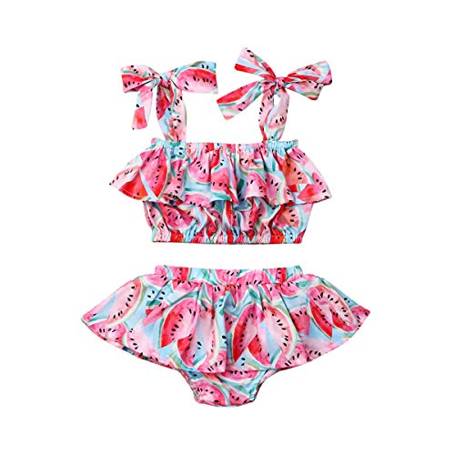 CQHY MALL Babies' Girls Watermelon Print Romper Infant Girls Off Shoulder Bodysuit Clothes Cute Ruffle Outfit with Headband (18-24 Months, 2Pcs/Set Red Outfits) (Watermelon Bodysuit)