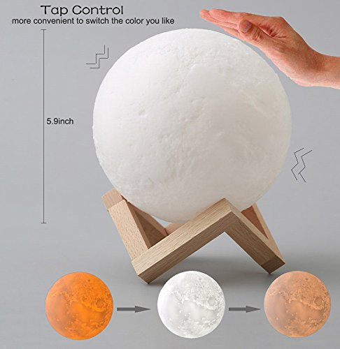 Ricris Moon Lamp, 3D Printed Moon Light Lamps with Wood Stand, Tap Control 3-Color Changing Lunar Moonlight for Kids, Rechargeable Home Decor Hanging Night Light (5.9IN)