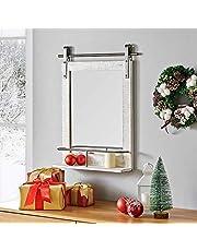 "FirsTime & Co. Ingram Barn Door Shelf Wall Mirror, 25"" H x 20"" W, Rustic Wood Metallic Gray"