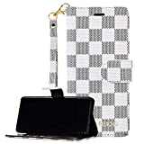 Galaxy S10 Leather Flip Case,GX-LV Galaxy S10 Luxury Plaid Pattern Leather Wallet Case for Women and Men,Wallet Phone Folio Case Cover with Card Holder for Samsung Galaxy S10,White