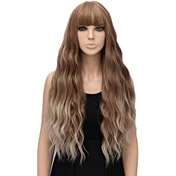 netgo Women Golden Brown Ombre Blonde Wigs with Bangs Natural Wave Long Curly Heat Resistant synthetic Wig 30""