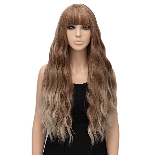 netgo Women Golden Brown Ombre Blonde Wigs with Bangs Natural Wave Long Curly Heat Resistant synthetic Wig 30