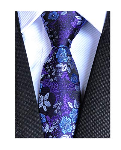 Men's Blue Purple Fun Self Tie Floral Leaf Silk Paisley Party Suit Dress Necktie
