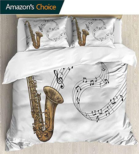 - Cotton Bedding Sets,Box Stitched,Soft,Breathable,Hypoallergenic,Fade Resistant Bedding Set for Teen 3Pcs-Saxophone Jazz Blues Concert Rock (87