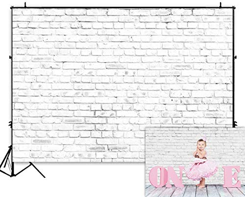 (Funnytree 7X5ft White Rustic Brick Wall Backdrop for Birthday Wedding Festival Themed Party Photography Background Retro Block Newborn Baby Adult Portrait Photo Studio Props Decorations Banner)