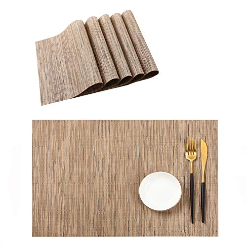 PABUSIOR Placemat, Table Mats Set of 6 Washable, Easy to Clean Non-Slip Woven Vinyl Placemats for Dining Table (12 X 18 Inch Beige) (Placemats Beige)