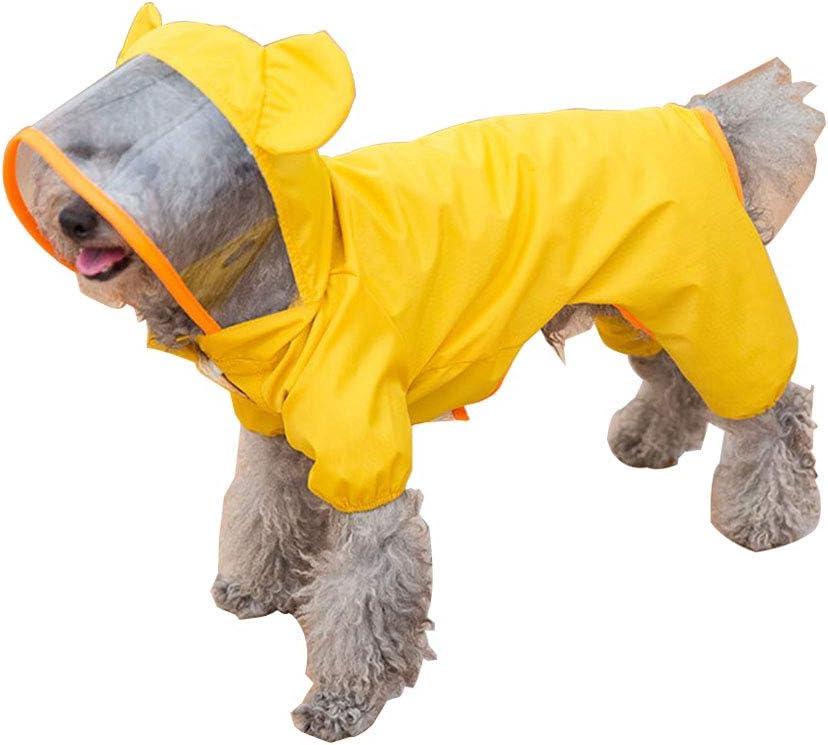 Dog All-Inclusive Raincoat Waterproof Dog Poncho Four-Legged Jumpsuit Rain Jacket for Puppy Small Dog Medium Dog Dreamls Pet Raincoat S:Green