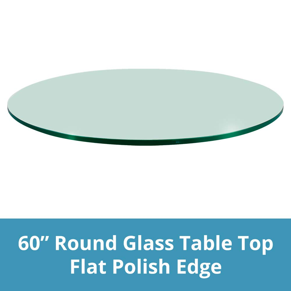 TroySys Round Glass Table Top Clear Tempered 1/2'' Thick Glass with Flat Polished for Dining Table, Coffee Table, Home & Office Use - 60'' Inch'