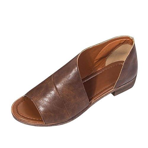buy popular 2b281 153bf Tomwell Sandalen Damen Sommer Leder Absatz Peep Toe Hinten Geschlossen  Vintage Römersandalen Outdoor Schuhe Große Größe