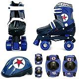 Sk8 Zone Boys Blue Black Quad Skates Padded Kids Roller Boots Safety Pads Helmet Childrens Skate Set (Large 3-6 (35-38 EU))