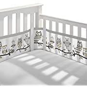 BreathableBaby | Breathable Mesh Printed Crib Liner | Doctor Endorsed | Helps Prevent Arms and Legs from Getting Stuck Between Crib Slats | Independently Tested for Safety | Owl Fun Gray