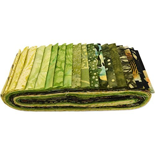 - Bali Batiks Meadow Bali Poppy 20 2.5-inch Strips Jelly Roll Hoffman Fabrics BPP-170-Meadow