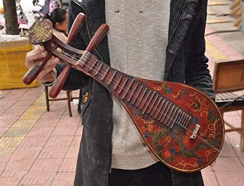 SIYAO Wedding Decoration Rare Old China Lacquer Wood Dragon Ancient Musical Instrument Lute Guitar Statue
