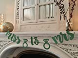 Miss To Mrs Banner PRESTRUNG Banner Green Glitter Silver For Bridal Wedding shower and Bachelorette Party Engagement Decorations Supplies Cursive