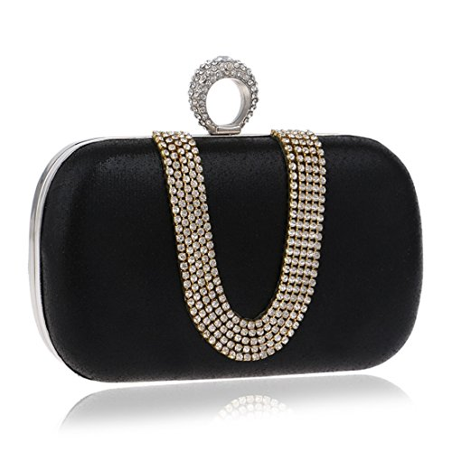bag Fly Take Small Fashion Exquisite Lady Color evening Diamond Evening Black Banquet Bag U Hand BLACK shaped Dinner Bag Drill Bag T6Trq8Ww
