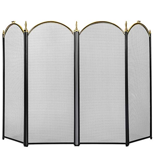 VIVOHOME 32 Inch Height Iron Fence 4 Panel Decorative Black Mesh Fireplace Screen ()