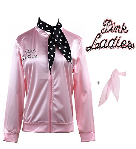 Yan Zhong 1950s Pink Ladies Satin Jacket with Neck Scarf T Bird Women Danny Halloween Costume Fancy Dress (with Rhinestone on The Back, Medium)