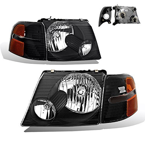 SPPC Headlights Black Assembly Set with Corner For Ford Explorer - (Pair) Driver Left and Passenger Right Side Replacement Headlamp - Ford Explorer Drivers Side Corner