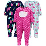Simple Joys by Carter's Girls' Toddler 3-Pack Loose Fit Flame Resistant Fleece Footed Pajamas, Elephant/Lamb/Monster, 5T