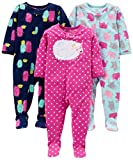 Simple Joys by Carter's Girls' Toddler 3-Pack Loose Fit Flame Resistant Fleece Footed Pajamas, Elephant/Lamb/Monster, 3T