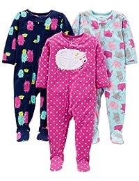 Simple Joys by Carter's Girls' - Conjunto de 3 Pijama de Forro Polar Resistente al Fuego, Owl/Cats/Dot, 5T