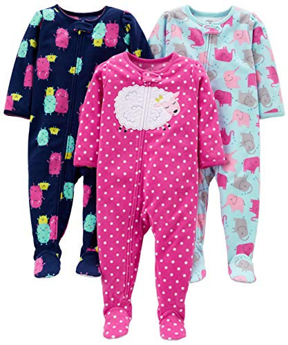 Simple Joys by Carter's Girls' 3-Pack Loose Fit Flame Resistant Fleece Footed Pajamas, Elephant/Lamb/Monster, 24 Months