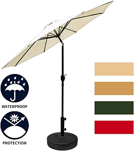 Leisurelife 9 Patio Table Umbrella with Base, White Sunbrella, 8 Sturdy Ribs, Tilt and Crank, 21 66-lbs